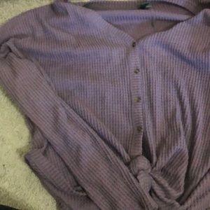 Purple super soft button Long sleeve